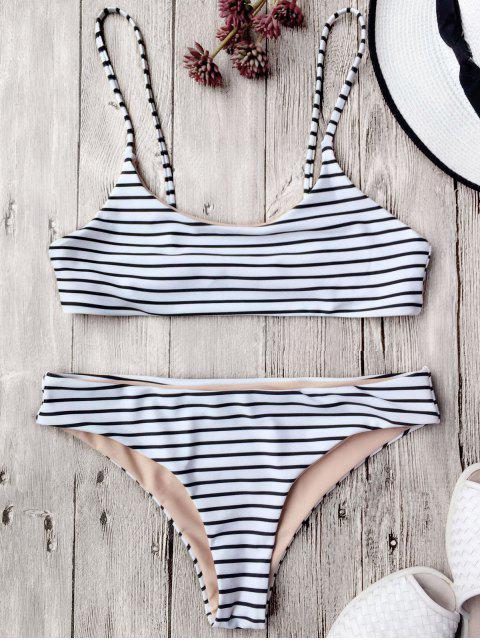 ladies Cami Striped Bralette Bikini Set - WHITE M Mobile