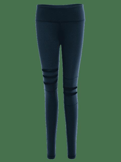 new Mesh Panel Stretchy Yoga Leggings - CADETBLUE M Mobile