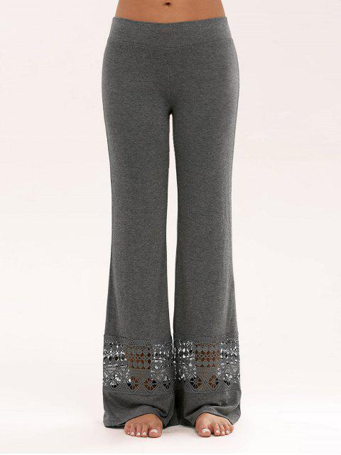 Hosen mit Spitzeeinsatz und hoher Taille,weitem Bein - Grau 2XL Mobile