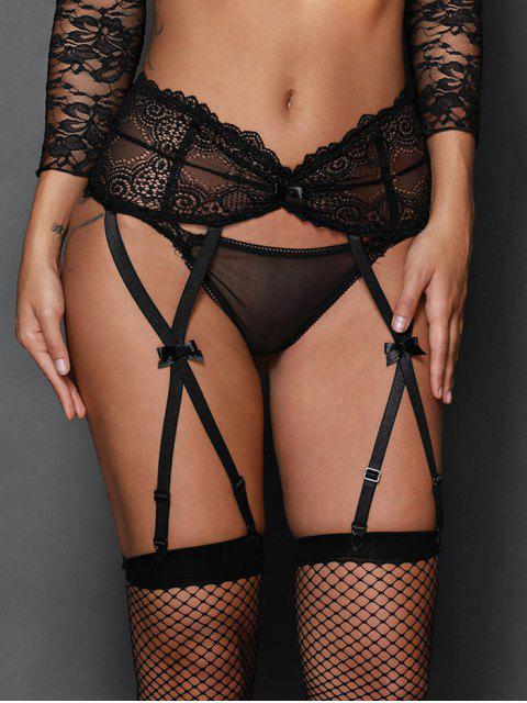 outfit High Waist Steel Boned Lace Garter Briefs -   Mobile