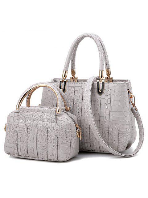 2 piezas de crocodilo patrón conjunto de bolsos - Gris Claro  Mobile