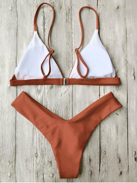 women's Soft Pad Spaghetti Straps Thong Bikini Set - BURNT ORANGE M Mobile