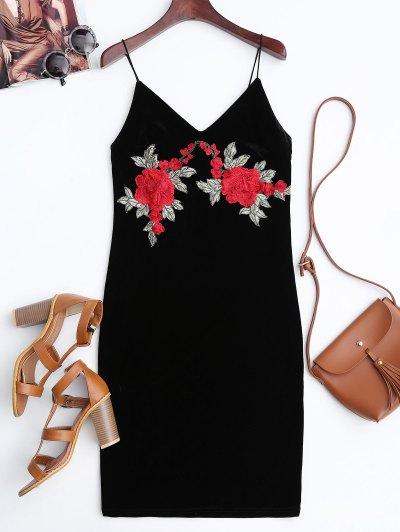 Rose Embroidered Velvet Bodycon Dress - Black S