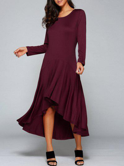 High Low Long Sleeve Dress - Wine Red Xl