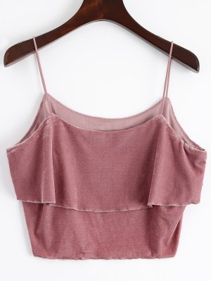 Layered Velvet Tank Top - Russet-red M