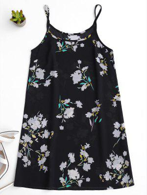 Vestido Floral Con Visera - Negro L