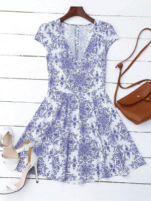 Print Cut Out Fit And Flare Dress - Blue And White L