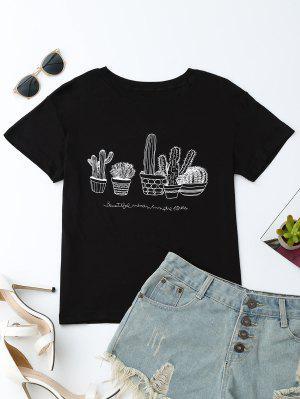 Cactus Graphic Cotton Blend T-Shirt - Negro L