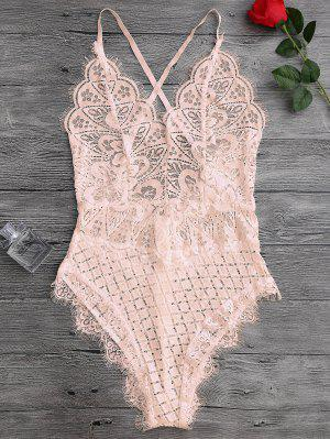 Scaolloped Sheer Cuello de encaje Teddy Bodysuit