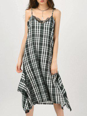 Cami Lace Panel Plaid Asymmetric Dress - Checked S