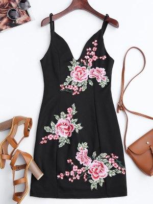 Mini Vestido Ceñido Con Bordado Floral - Negro Xl