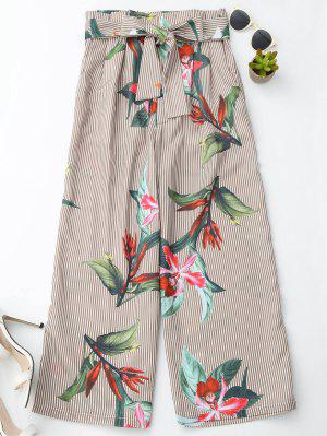 Floral Striped Wide Leg Pants With Belt - Stripe L