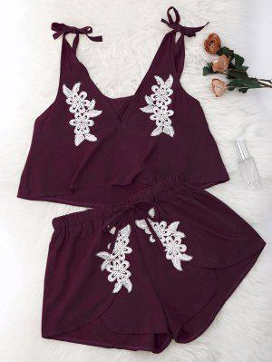 Drawstring Lace Applique Loungewear Suit