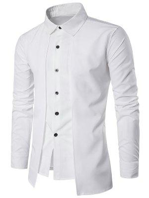 Turndown Collar Faux Twinset Panel Design Shirt