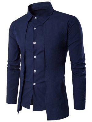 Turndown Collar Faux Twinset Panel Design Shirt