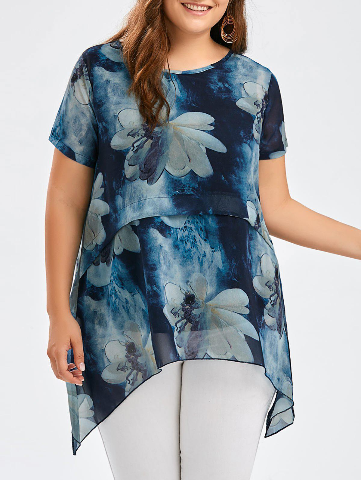 Flower Ink Wash Painting Plus Size Asymmetric Tunic Top 212057601