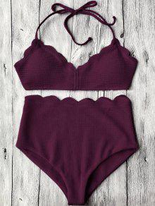 Halter Hoch Tailliertes Bikini Set Mit Muschel Saum - Merlot M