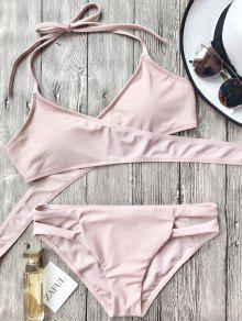 Cutout Halter Wrap Bikini Set - Pink M