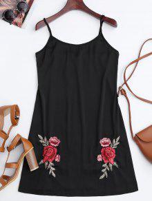 Vestido De Raso Bordado Floral De Satén Mini - Negro L