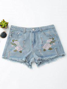 Floral Embroidered Frayed Hem Hot Denim Shorts - Denim Blue L