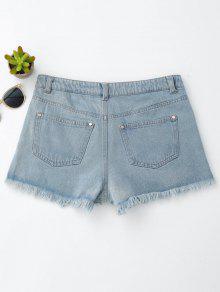 Floral Embroidered Frayed Hem Hot Denim Shorts DENIM BLUE: Shorts ...