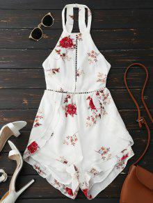 Open Back Floral Romper With Belt - White S