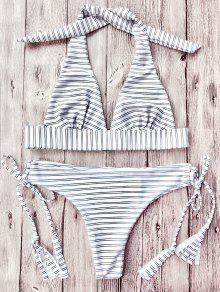 Striped Halter Plunge Bikini Set - Striped S