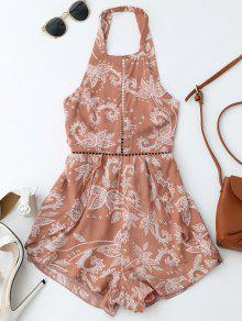 Print Open Back Criss Cross Romper - Brick-red L