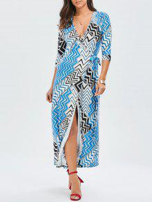 Maxi Zig Zag Slit Wrap Dress - L