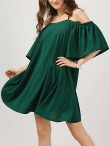 Elastic Straps Cold Shoulder Bell Sleeve Dress - Blackish Green L