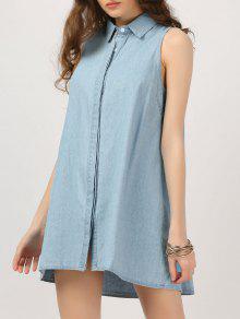 Botón Sin Mangas Chambray Vestido - Denim Blue Xl
