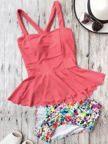 Falbala Dasiy High Waisted Peplum Tankini - Watermelon Red M