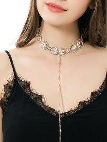 Sparkly Faux Crystal Rhinestone Alloy Chain Necklace - Golden