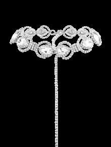 سباركلي فو كريستال حجر الراين سبيكة سلسلة قلادة - فضة