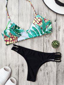 Traje De Bikini Reversible Con Cordón Con Estampado De Hoja - Negro M