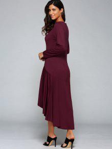 50802579bc5 29% OFF  2019 High Low Long Sleeve Dress In WINE RED