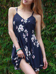 عارية الذراعين فستان زهري طباعة سوينغ - أزرق M
