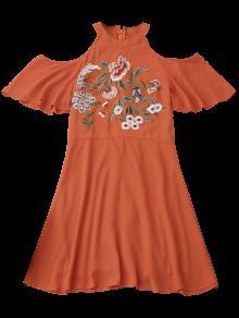 Aire Floral Hombros Rojo Con M Vestido Al Cuello Con Anaranjado Con Redondo Bordado zEwnq4wa