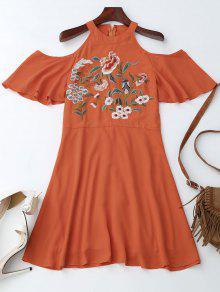 Jewel Neck Cold Shoulder Floral Embroidered Dress - Orange Red L