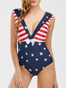 Short Cut Patriotic Backless Swimwear - Bleu Foncé Xl