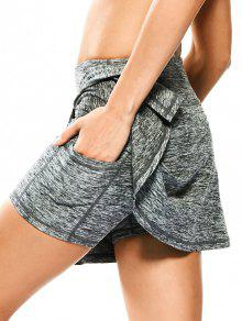 Skirted Space Dyed Sporty Shorts - Light Gray L