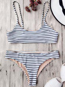 Traje De Bikini De Tirante Fino A Rayas Sin Aros - Blanco M
