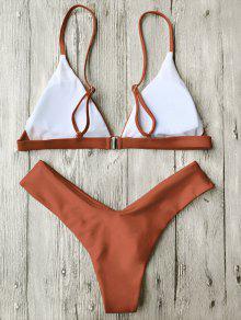 28cedf26611e8 35% OFF  2019 Soft Pad Spaghetti Straps Thong Bikini Set In BURNT ...