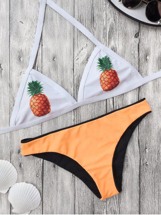 shop Color Block Pineapple Print Bathing Suit - YELLOW M