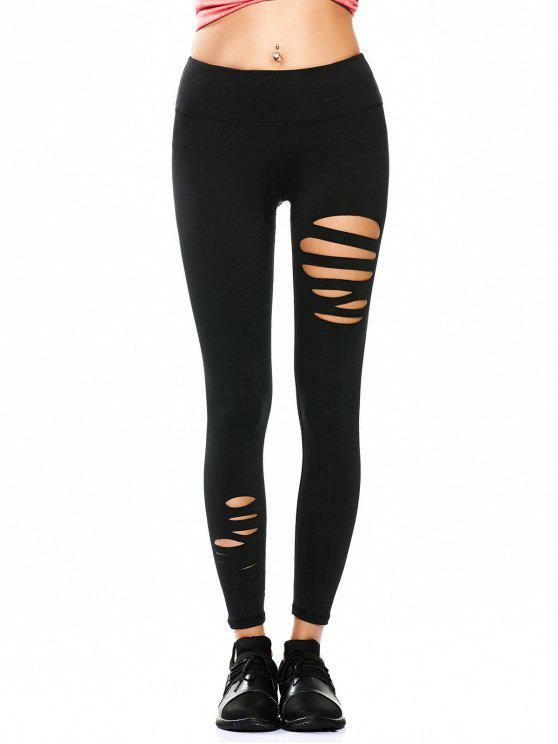 sale Ripped Tights Running Sports Leggings - BLACK M