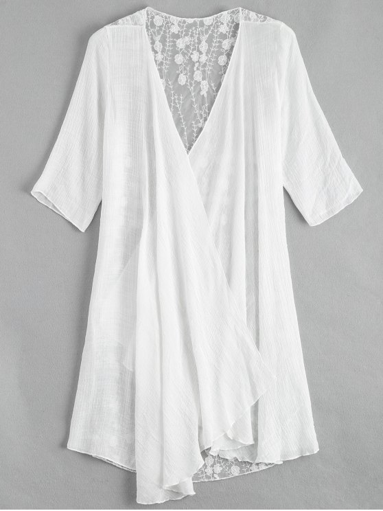 shop Sheer Embroidery Kimono Cover Up - WHITE ONE SIZE
