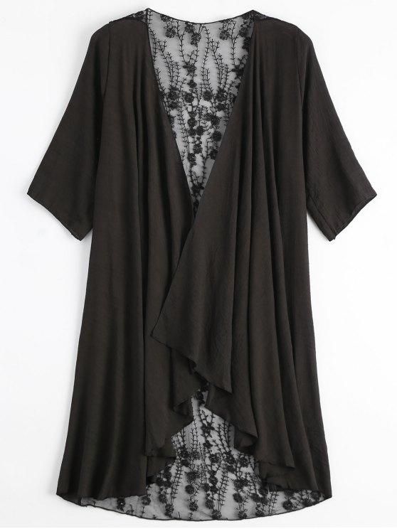 Kimono bordado com renda transparente - Preto Tamanho único