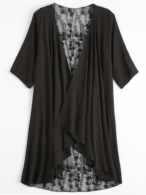 Kimono de bordado transparente cubrir - Negro Única Talla