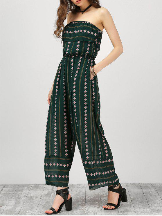 trendy Strapless Ruffle Argyle Wide Leg Jumpsuit - BLACKISH GREEN S