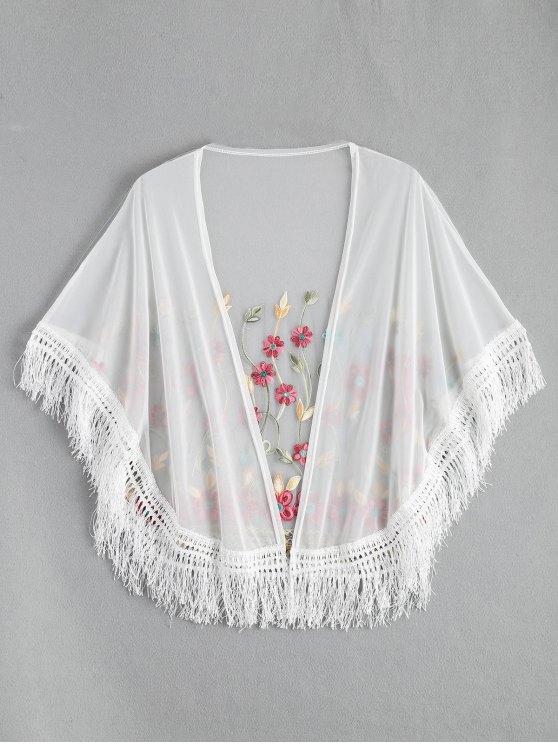 Kimono Envuelto de Malla con Bordado con Flecos - Blanco Única Talla